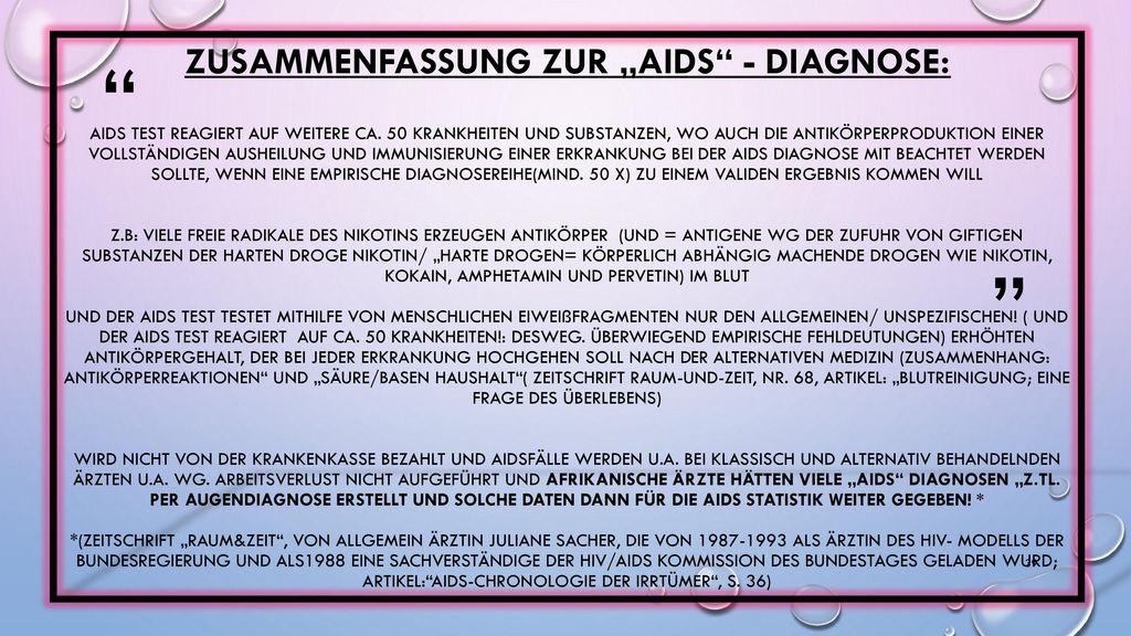 """Zusammenfassung zur """"AIDS - Diagnose: Aids Test reagiert auf weitere ca."""