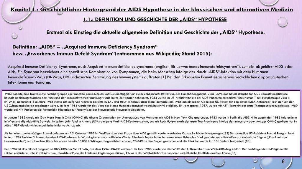 """1.1.: Definition und Geschichte der """"AIDS Hypothese"""