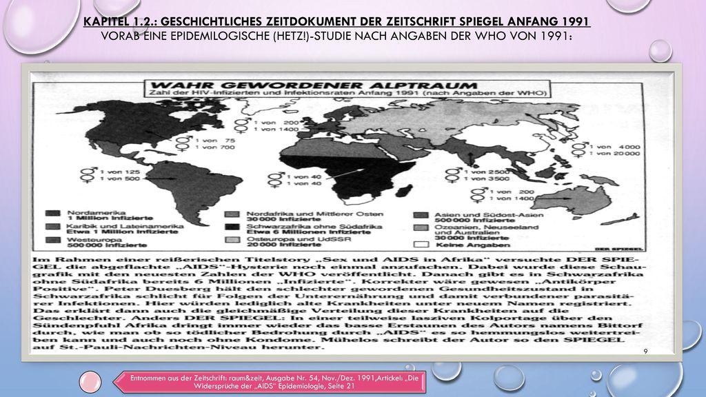 Kapitel 1.2.: Geschichtliches Zeitdokument der Zeitschrift Spiegel Anfang 1991 Vorab eine epidemilogische (Hetz!)-Studie nach Angaben der WHO von 1991: