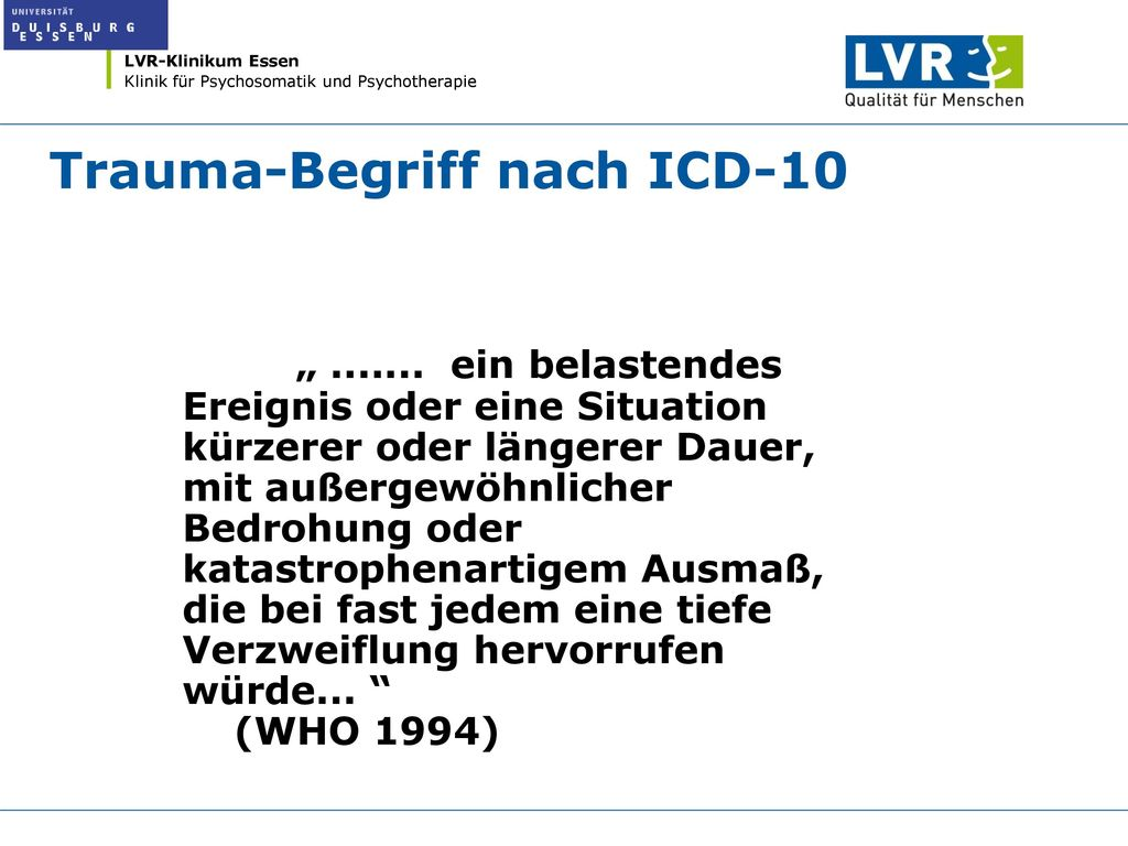 Trauma-Begriff nach ICD-10