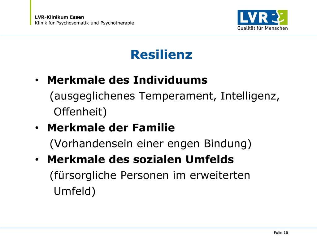 Resilienz Merkmale des Individuums