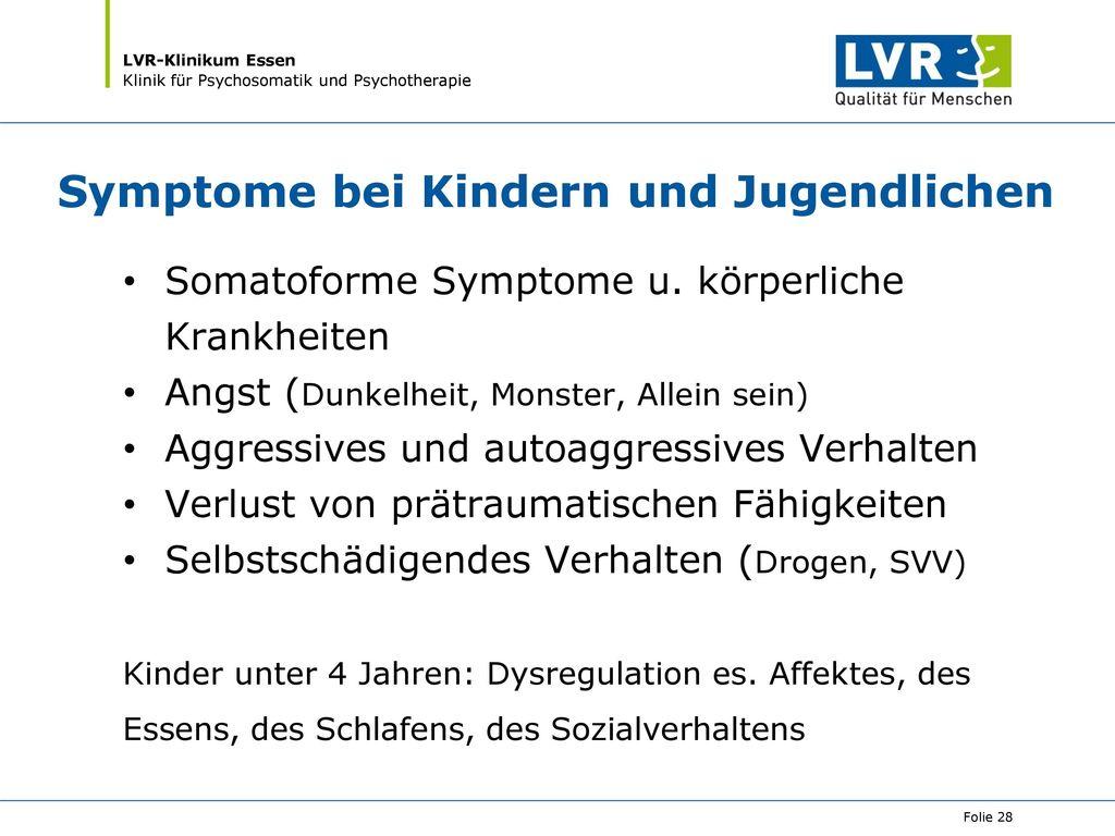 Symptome bei Kindern und Jugendlichen