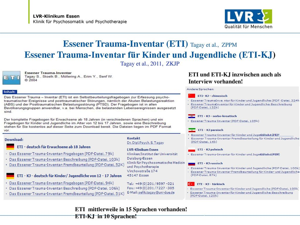 Essener Trauma-Inventar (ETI) Tagay et al