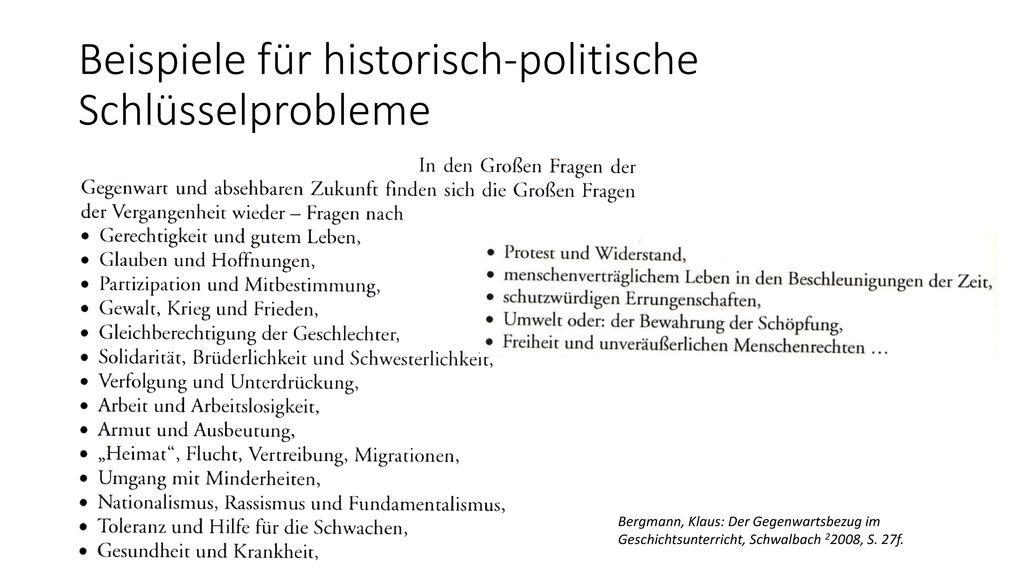 Beispiele für historisch-politische Schlüsselprobleme