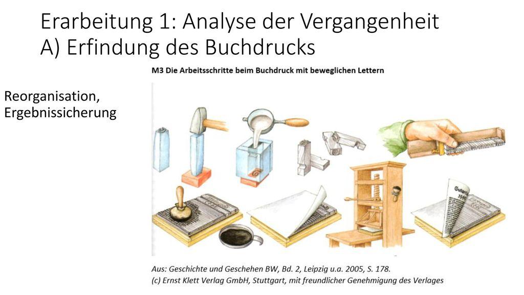 Erarbeitung 1: Analyse der Vergangenheit A) Erfindung des Buchdrucks