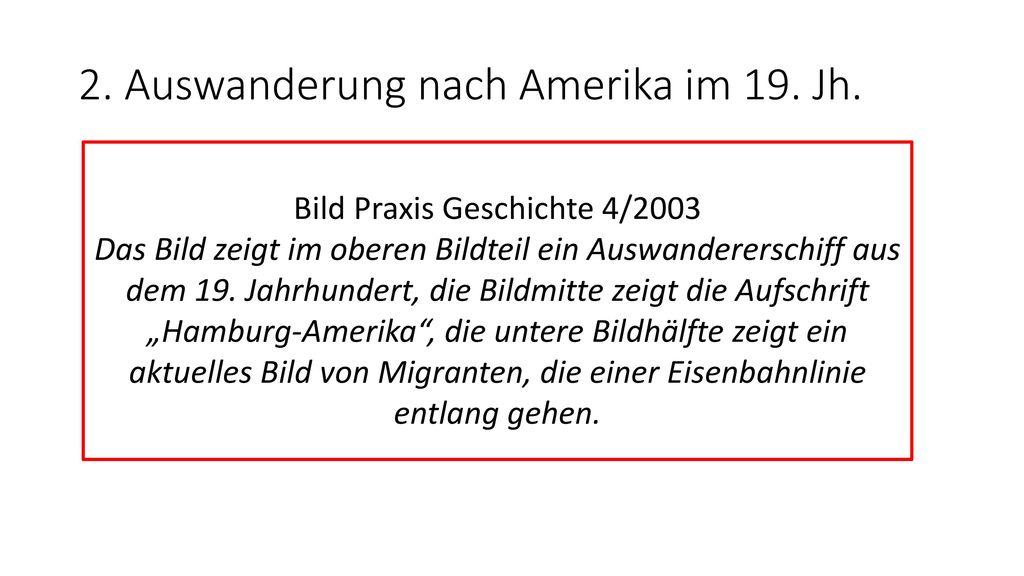 2. Auswanderung nach Amerika im 19. Jh.