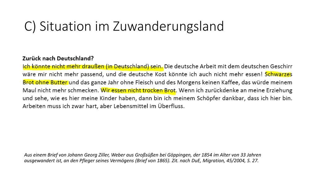 C) Situation im Zuwanderungsland