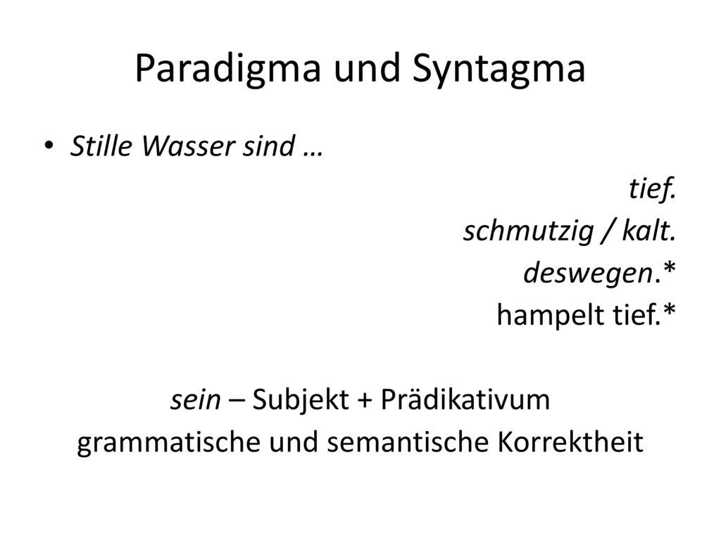 Paradigma und Syntagma