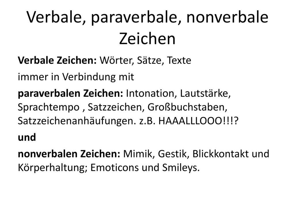 Verbale, paraverbale, nonverbale Zeichen