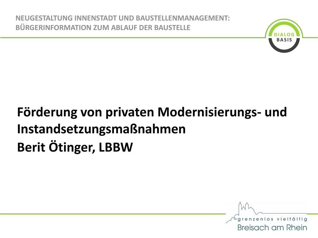 Förderung von privaten Modernisierungs- und Instandsetzungsmaßnahmen