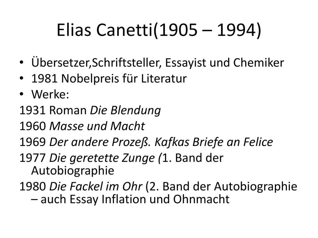 Elias Canetti(1905 – 1994) Übersetzer,Schriftsteller, Essayist und Chemiker. 1981 Nobelpreis für Literatur.