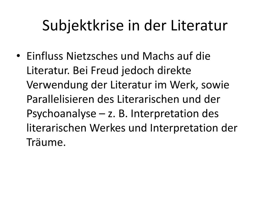 Subjektkrise in der Literatur