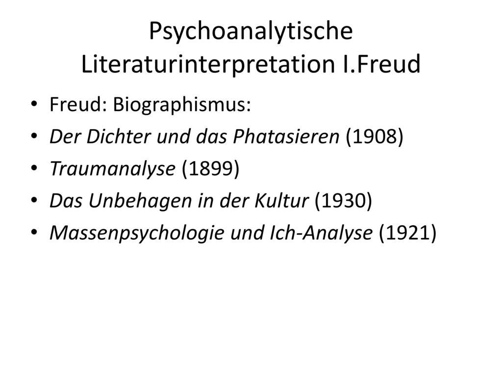 Psychoanalytische Literaturinterpretation I.Freud