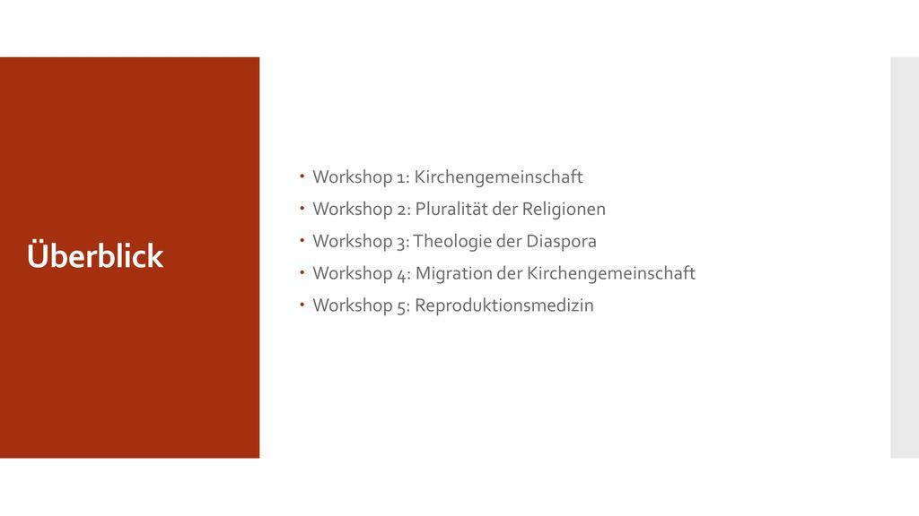 Überblick Workshop 1: Kirchengemeinschaft