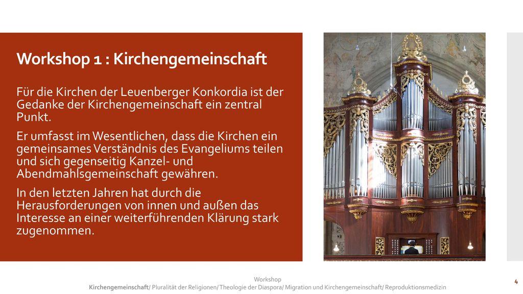 Workshop 1 : Kirchengemeinschaft