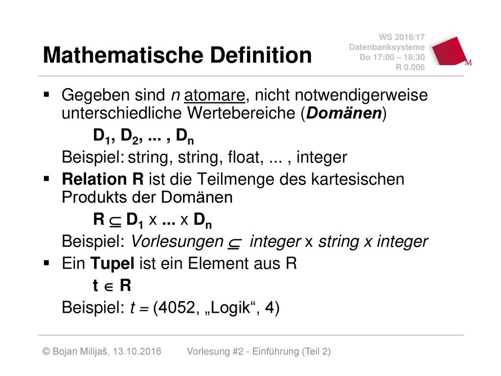 Mathematische Definition