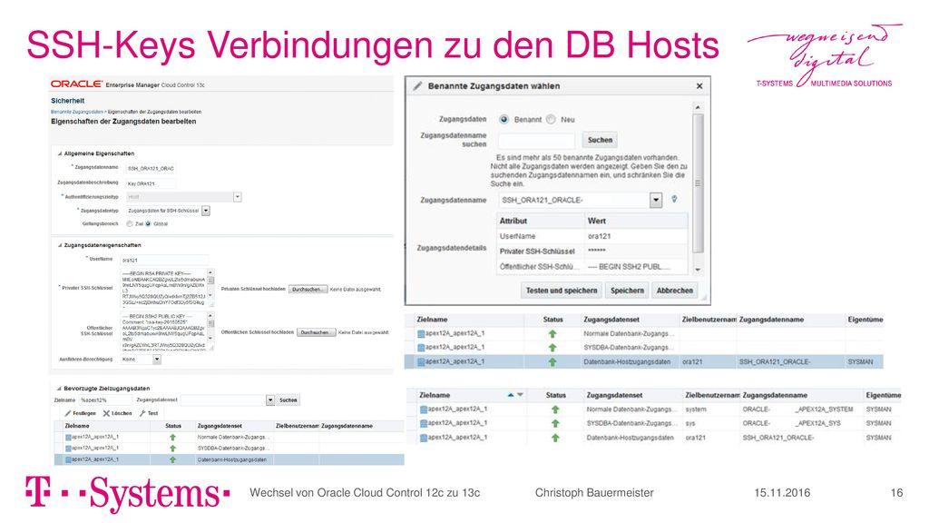 SSH-Keys Verbindungen zu den DB Hosts