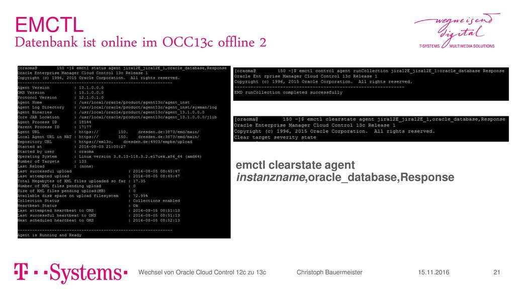 Datenbank ist online im OCC13c offline 2