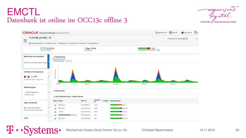Datenbank ist online im OCC13c offline 3