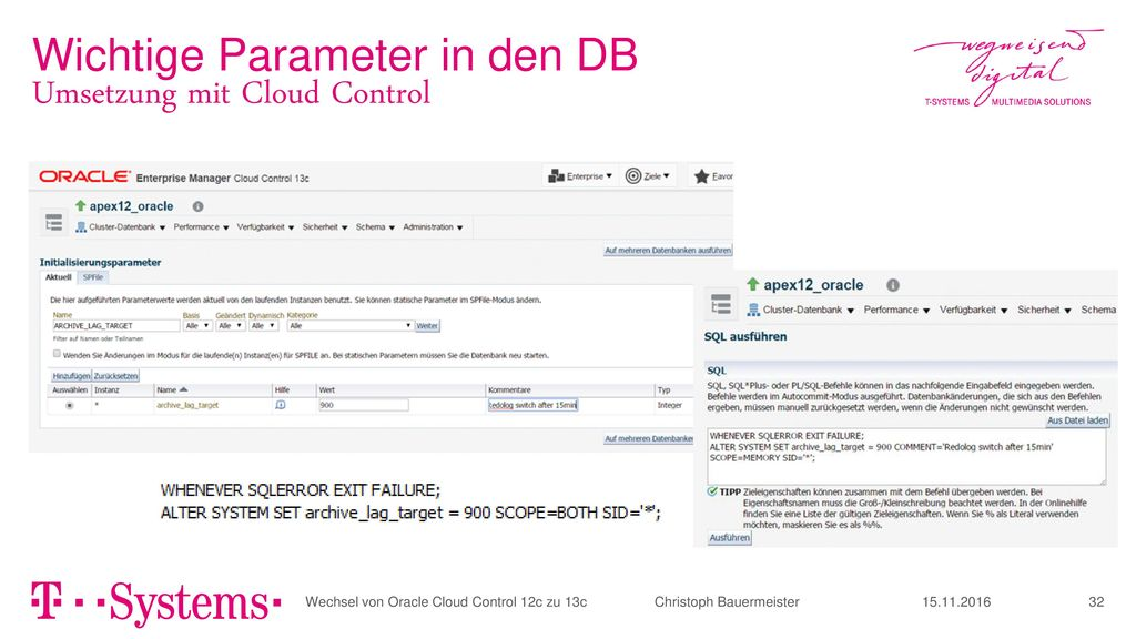 Wichtige Parameter in den DB