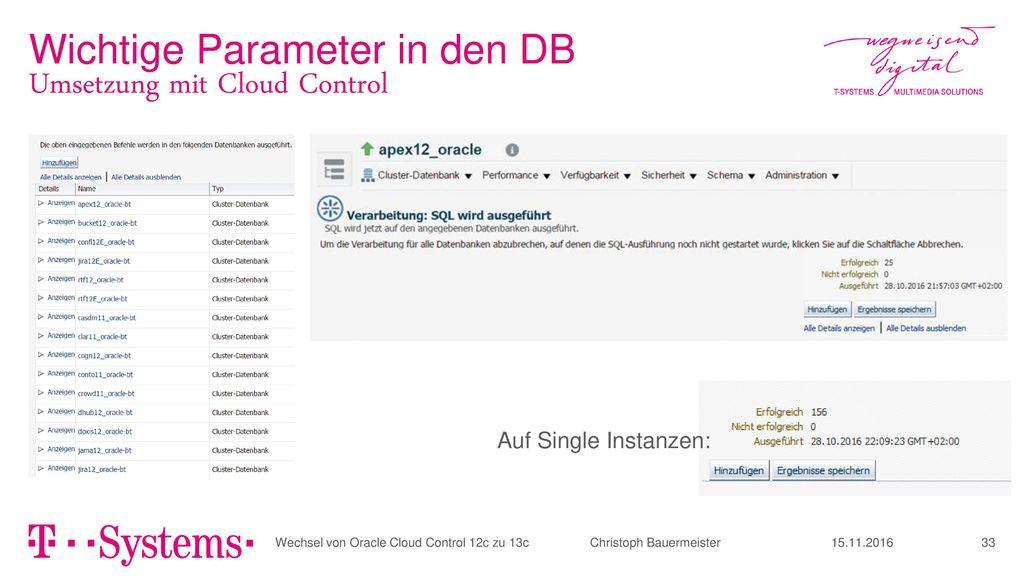 Wichtige Parameter in den DB