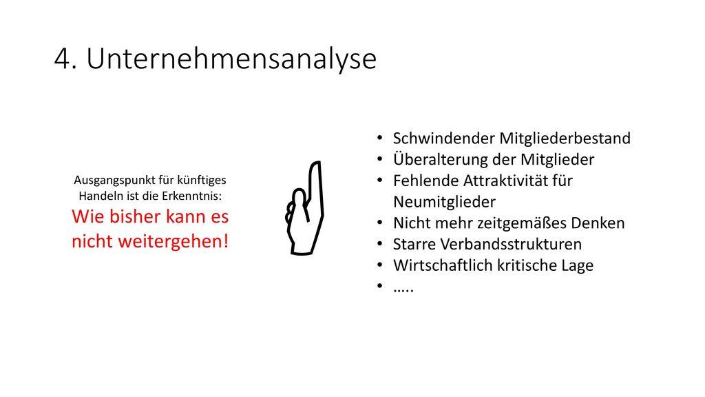  4. Unternehmensanalyse Wie bisher kann es nicht weitergehen!