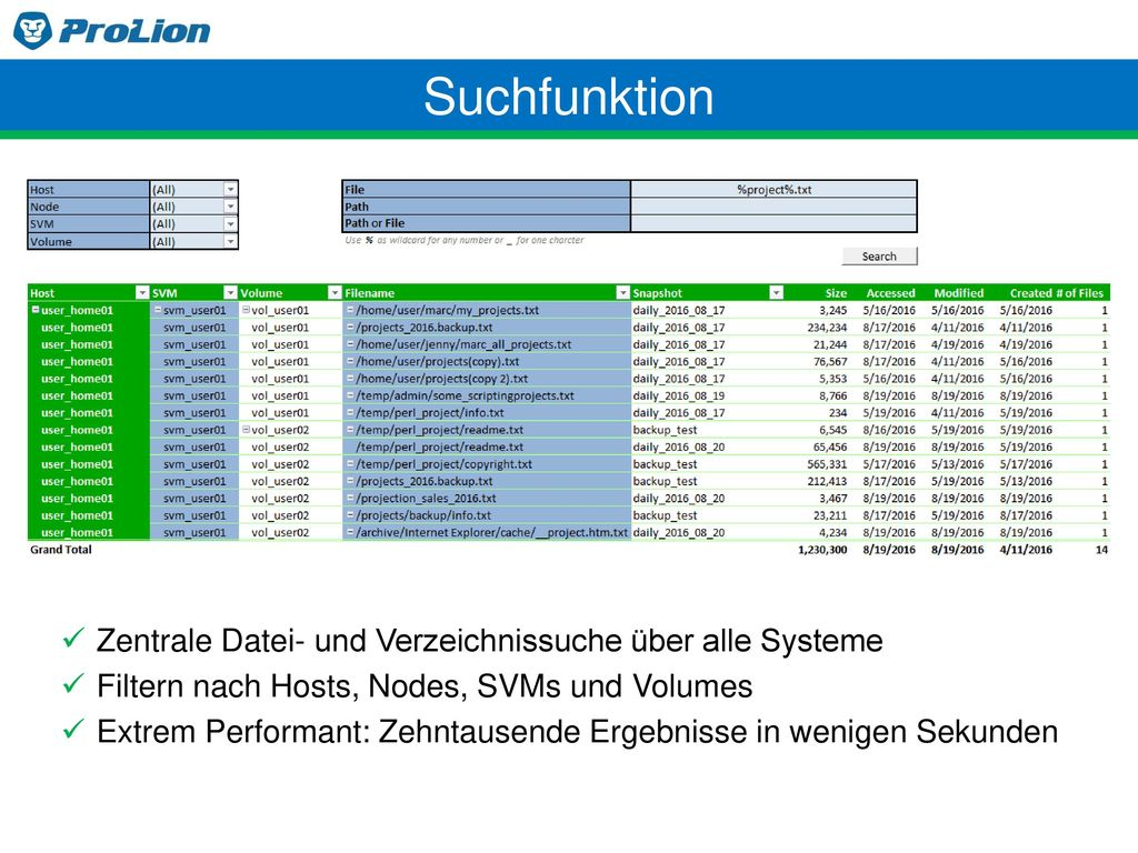 Suchfunktion Zentrale Datei- und Verzeichnissuche über alle Systeme
