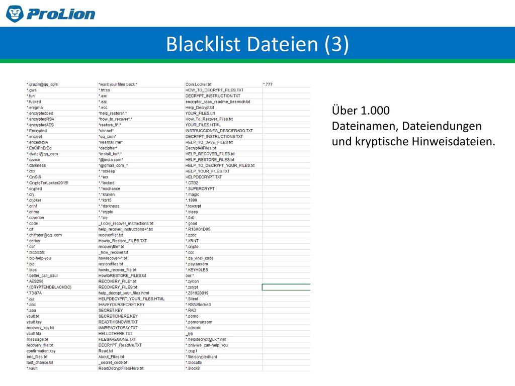 Blacklist Dateien (3) Über 1.000 Dateinamen, Dateiendungen