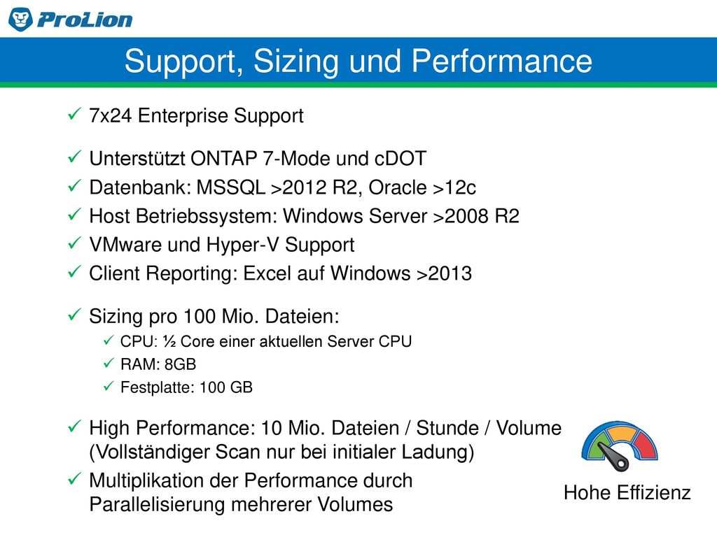 Support, Sizing und Performance