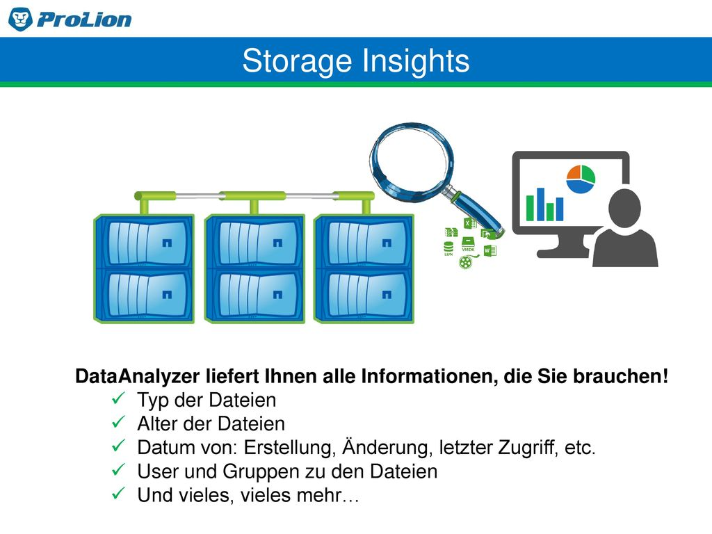 Storage Insights DataAnalyzer liefert Ihnen alle Informationen, die Sie brauchen! Typ der Dateien.
