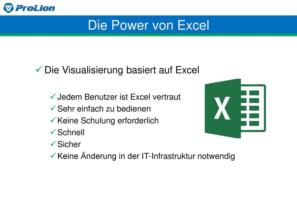 Die Power von Excel Die Visualisierung basiert auf Excel