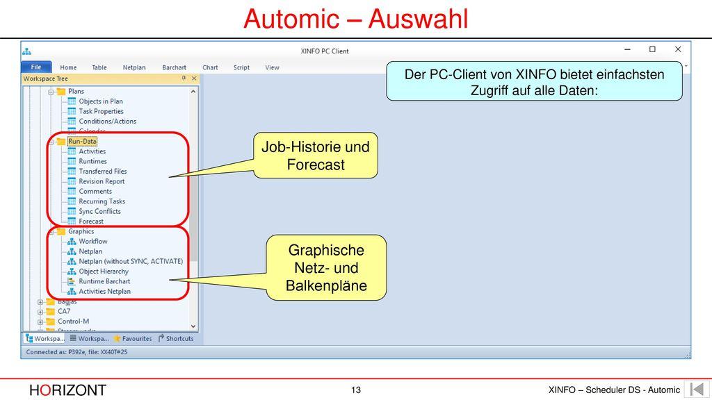 Automic – Auswahl Job-Historie und Forecast