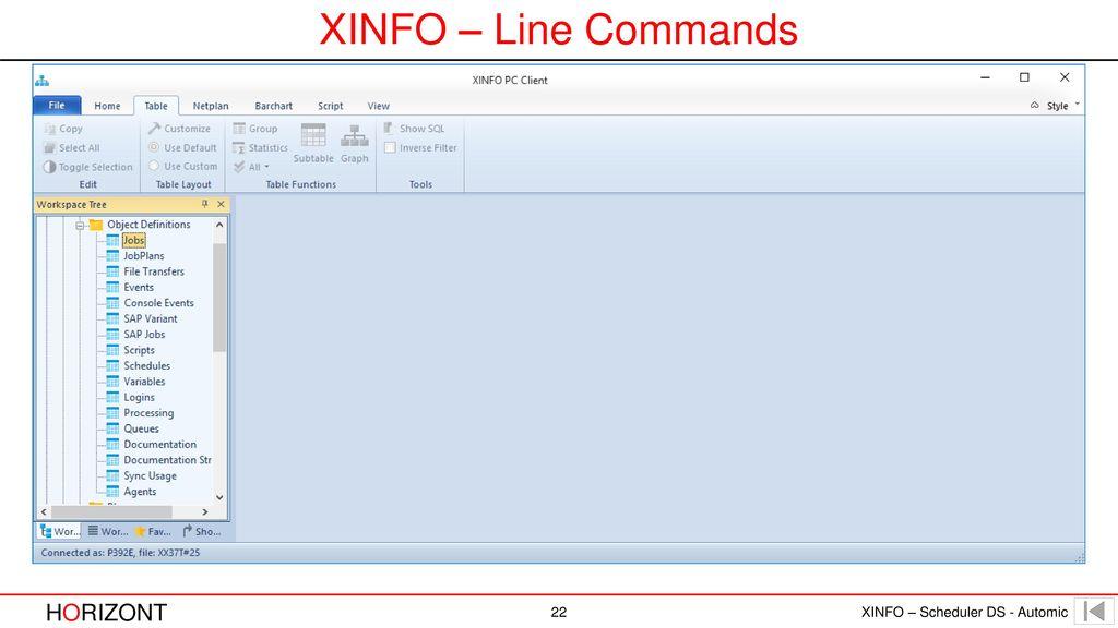 XINFO – Line Commands