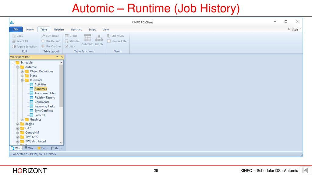 Automic – Runtime (Job History)