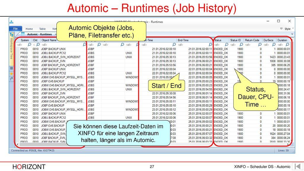 Automic – Runtimes (Job History)