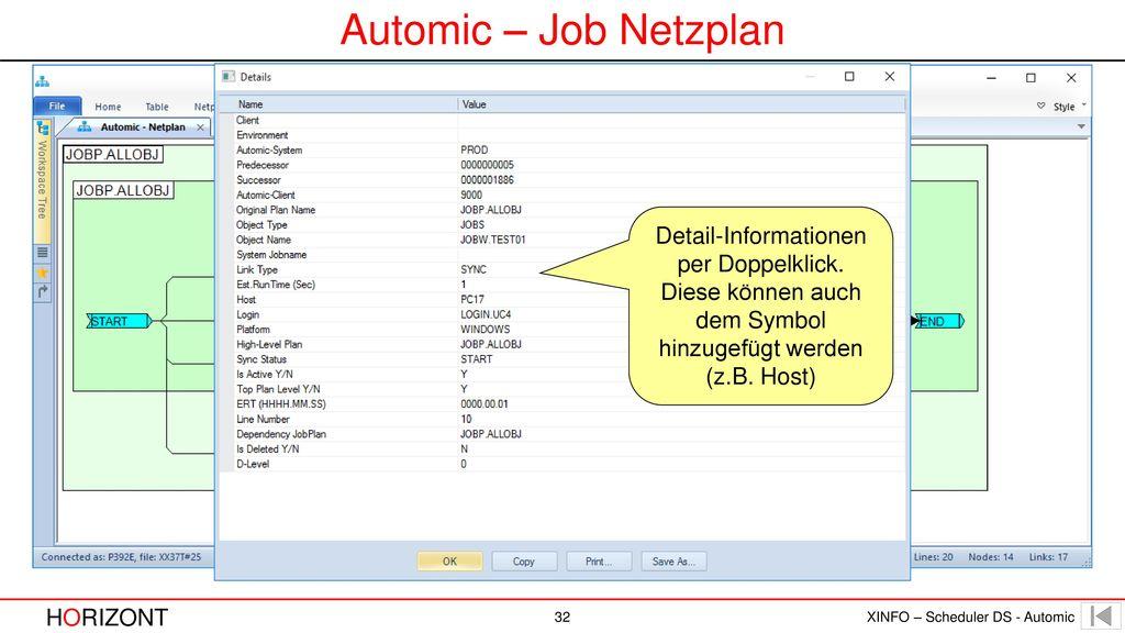 Automic – Job Netzplan Detail-Informationen per Doppelklick.
