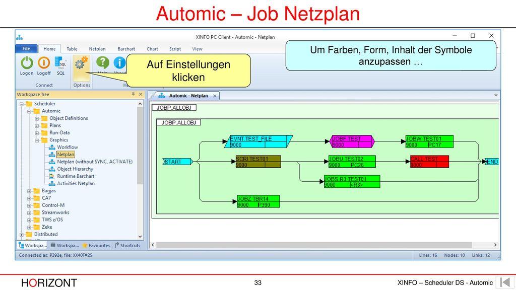 Automic – Job Netzplan Auf Einstellungen klicken