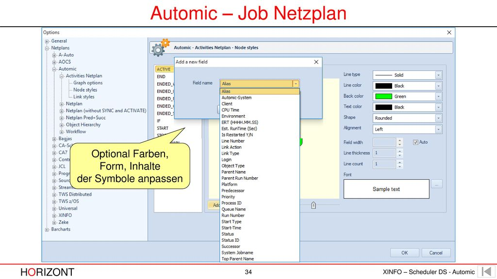 Automic – Job Netzplan Optional Farben, Form, Inhalte