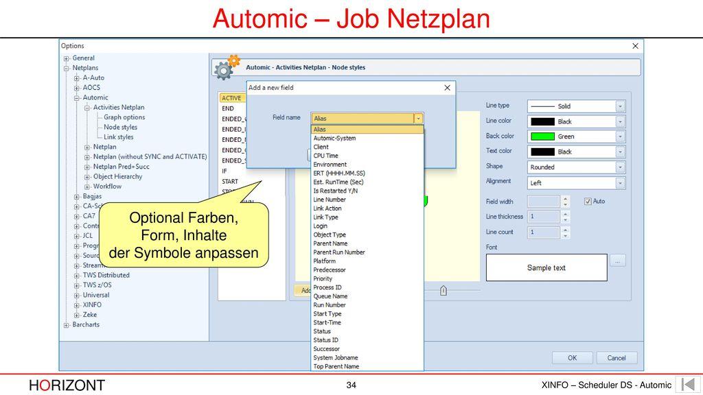 Automic – Job Netzplan Optional Farben, Form, Inhalte