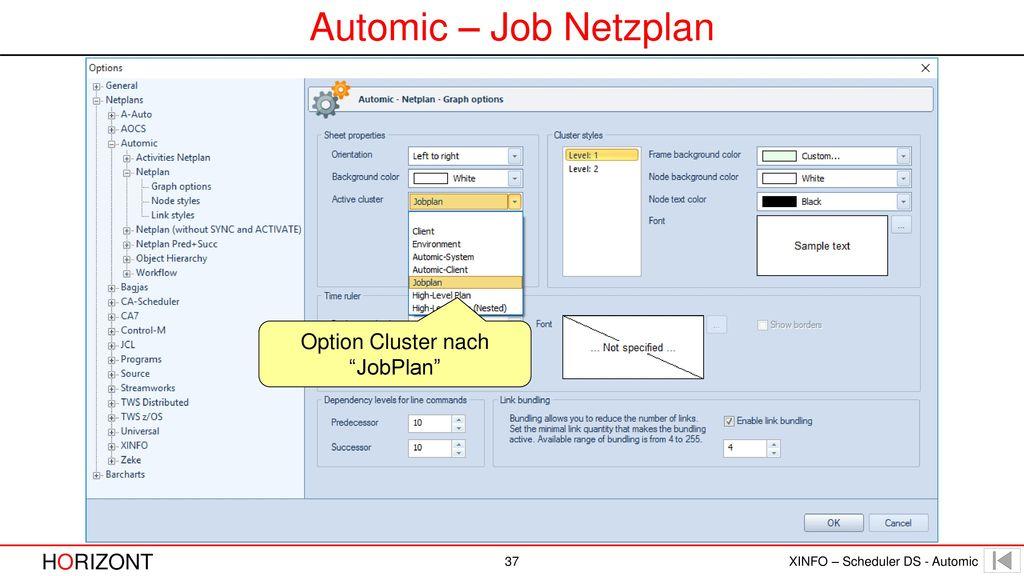 Option Cluster nach JobPlan