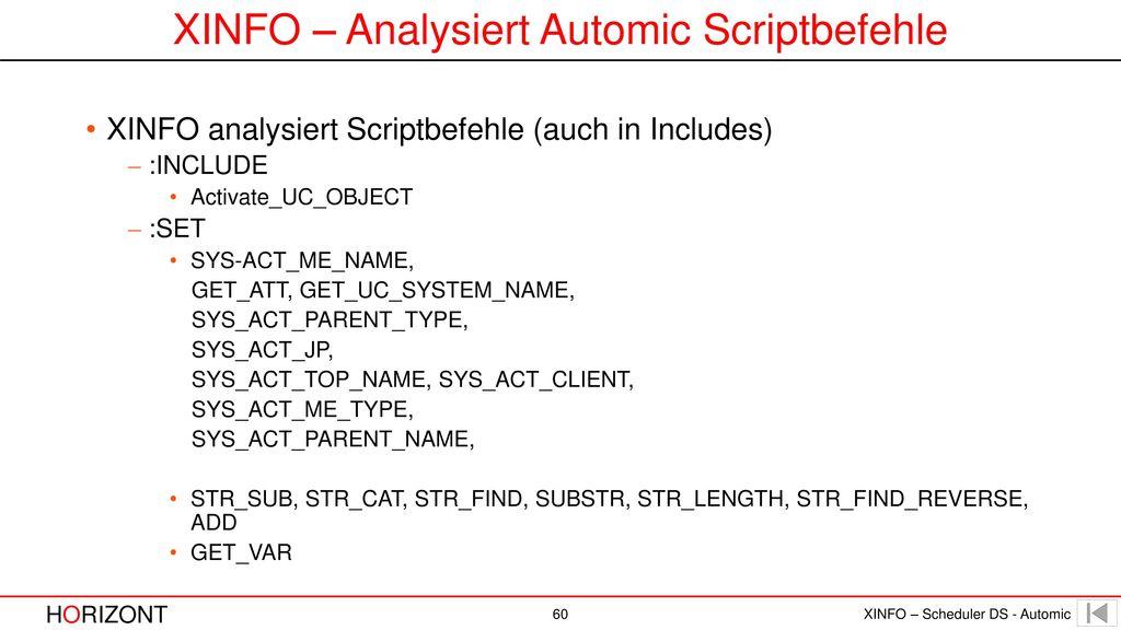 XINFO – Analysiert Automic Scriptbefehle