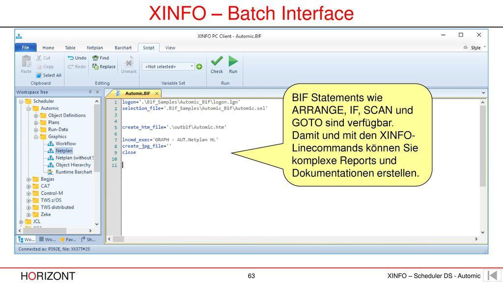 XINFO – Batch Interface