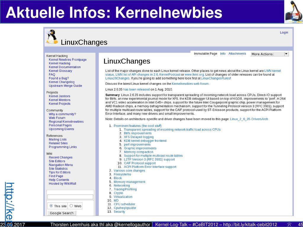 Aktuelle Infos: Kernel-Log (Deutsch)