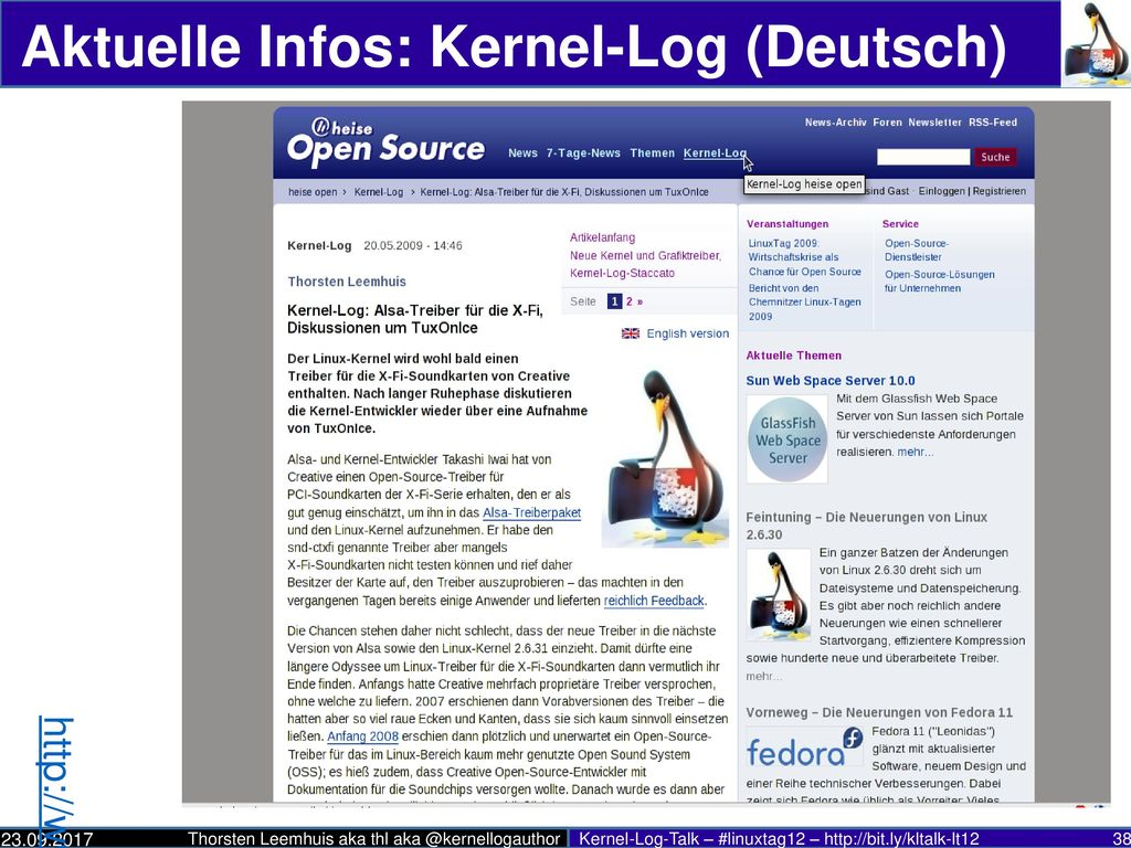 Aktuelle Infos: Kernel-Log (Deutsch)
