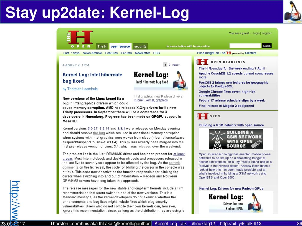 Stay up2date: Kernel-Log