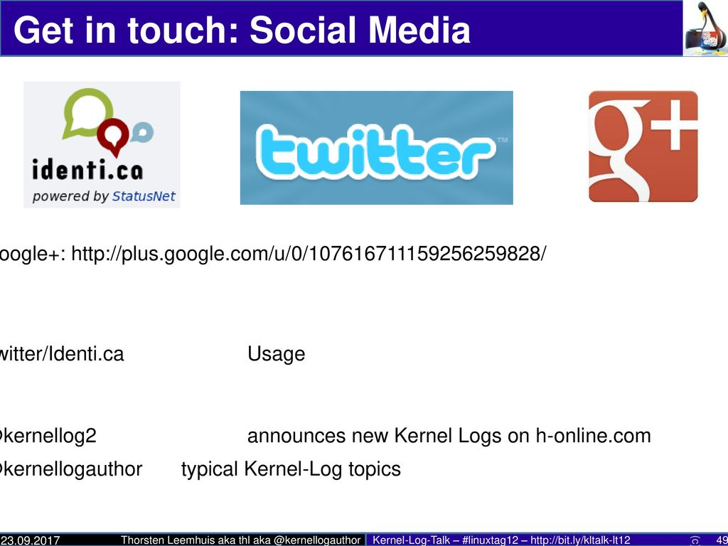 Get in touch: Social Media