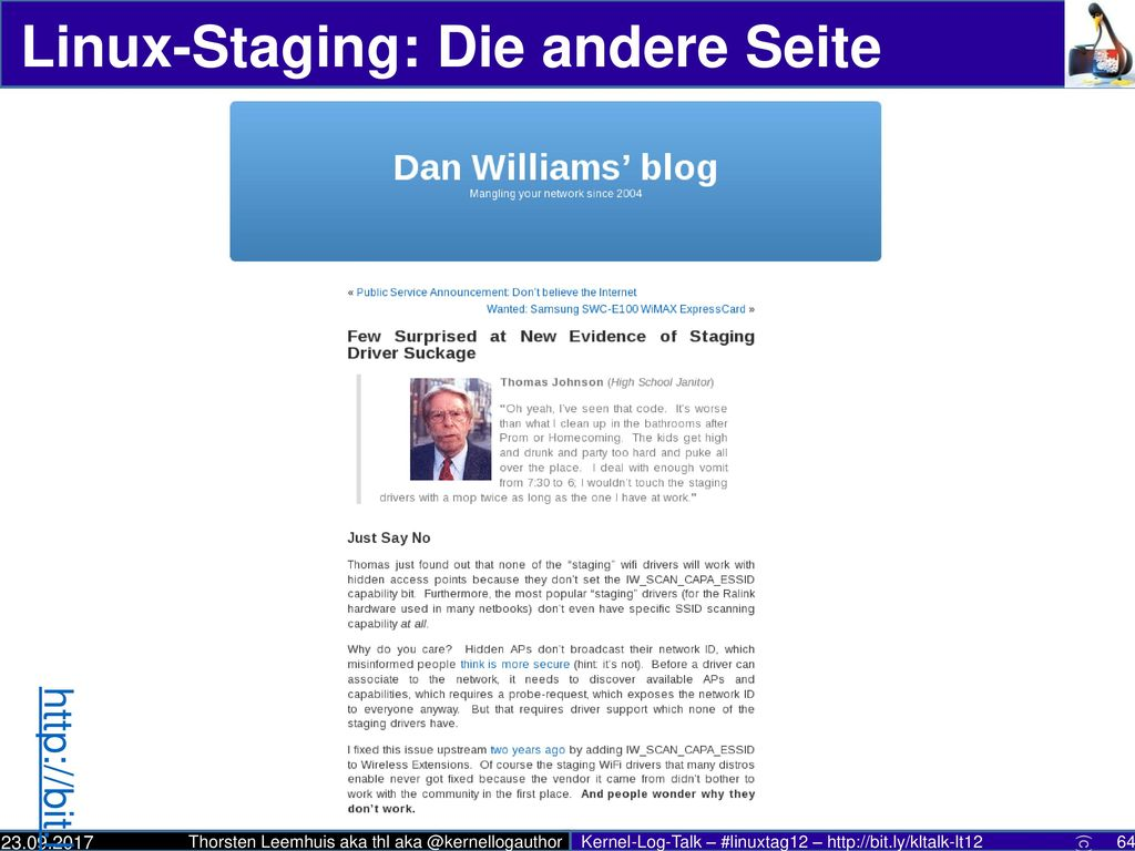 Linux-Staging: Die andere Seite