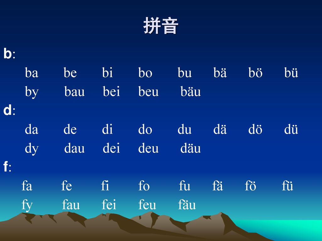 拼音 b: ba be bi bo bu bä bö bü by bau bei beu bäu d: