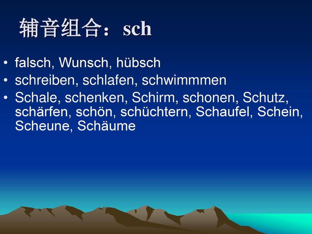辅音组合:sch falsch, Wunsch, hübsch schreiben, schlafen, schwimmmen