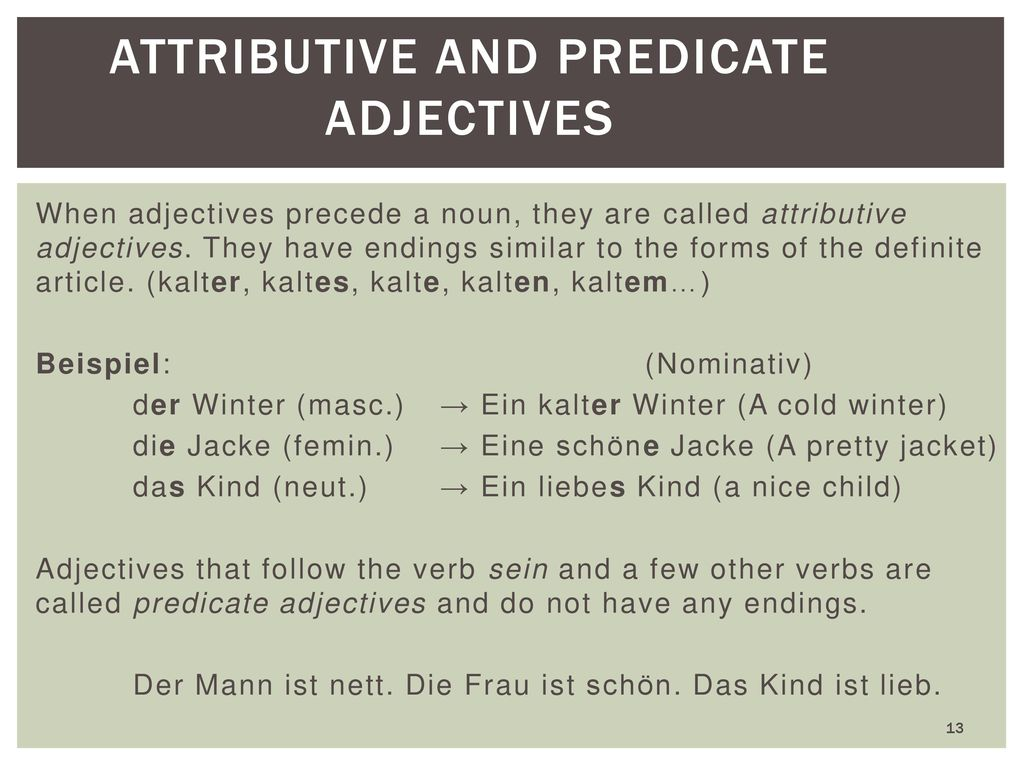 Attributive and Predicate Adjectives